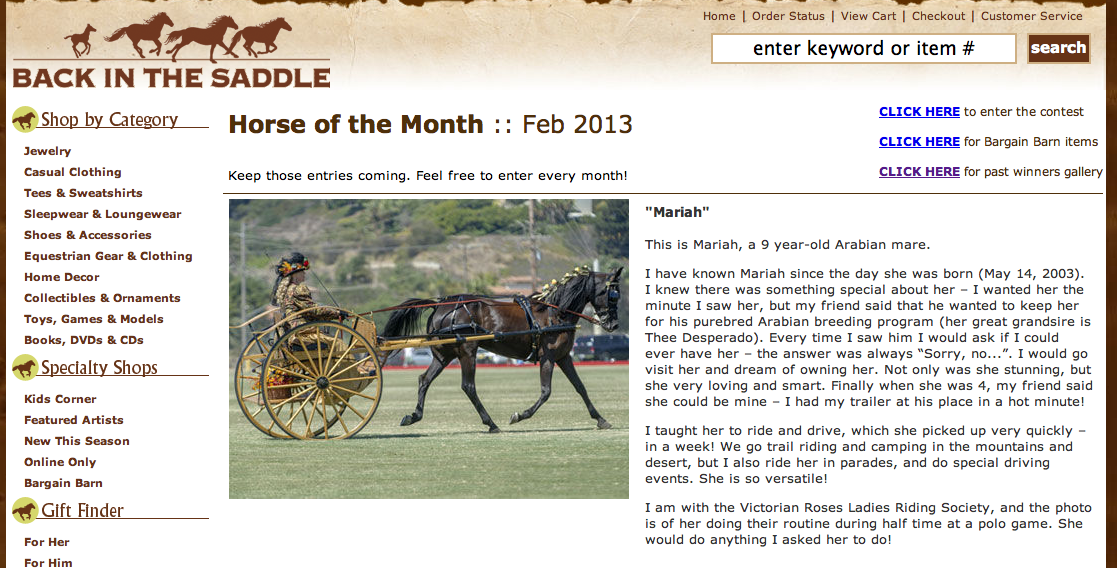 mariah horse of the month